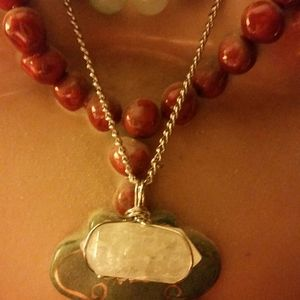 hand made Jewelry - Clear white hexagonal quartz wire wrap a necklace